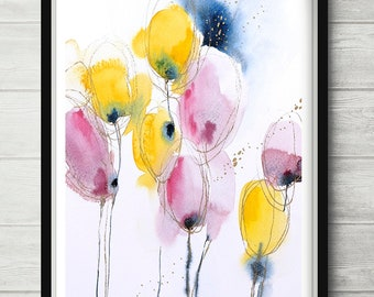 Abstract flowers painting, watercolor abstract, flower art, floral art print, abstract floral painting, watercolor pink art, gold pink print