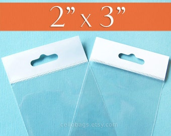 """500, 2 x 3"""" Inch HANG TOP Clear Self Adhesive Cello Bags  for Jewelry Display or Beads"""