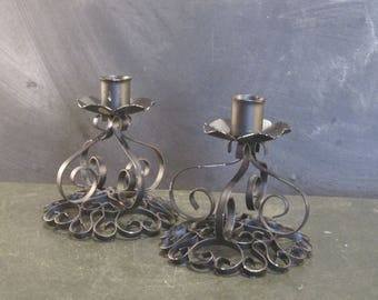 Pair of Vintage Black Wrought Iron Ornate Candle Holders