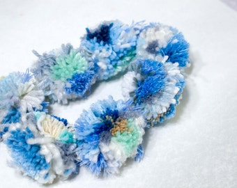 Pom Pom Garland Blue and White (6) 2 inch Pom Poms   Pom Banner - Pom Pom Garland -  Party Garland - Nursery Garland - Photo Prop