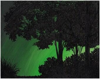 Black Trees, Green Orb, Path