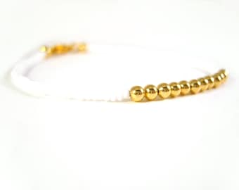 Layering Bracelet: Seed Bead Friendship Bracelet, White and Gold Bead Bracelet UK