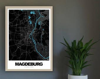 Poster city map of Magdeburg 02 (approx. 21 x 30 cm, A4), poster - postcard, Magdeburg map, Magdeburg-illustration, Magdeburg-souvenir