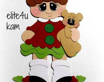 Elite4u Kam Premade Girl CHRISTMAS Bear Paper Piecing For Scrapbook Page Layout