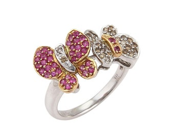 19459 - Champagne Diamond & Pink Sapphire 18k Gold Double Butterfly Ring