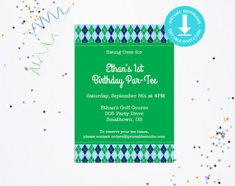 Golf Party Invitation - INSTANT DOWNLOAD Printable Golfing Invitation by Printable Studio