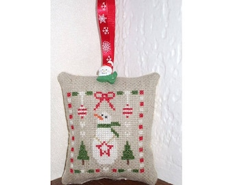 Embroidered cross stitch Christmas pillow