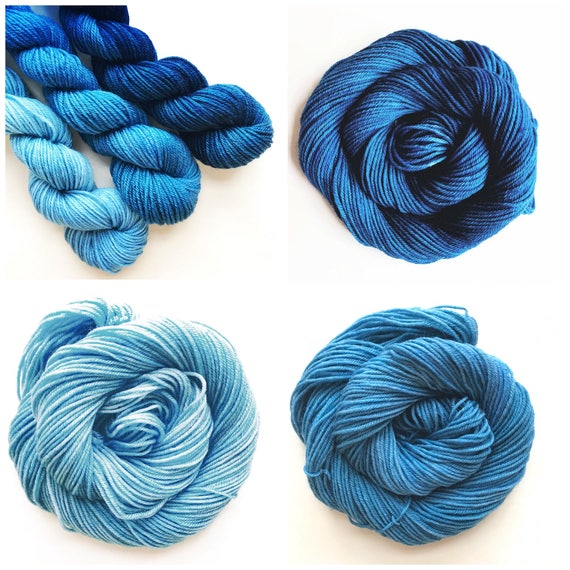 TWILIGHT fade set of hand dyed yarn. Gradient ombre SET of 3