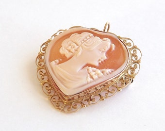 Cameo Brooch and/or Necklace Set in Rose Gold With Hand Carved Shell and Filigree