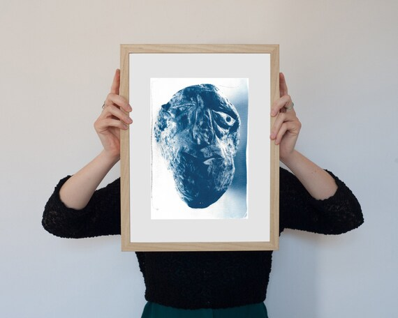 Rocky Face, Abstract Rock Face Sculpture, Cyanotype Print on Watercolor Paper, A4 size (Limited Edition)