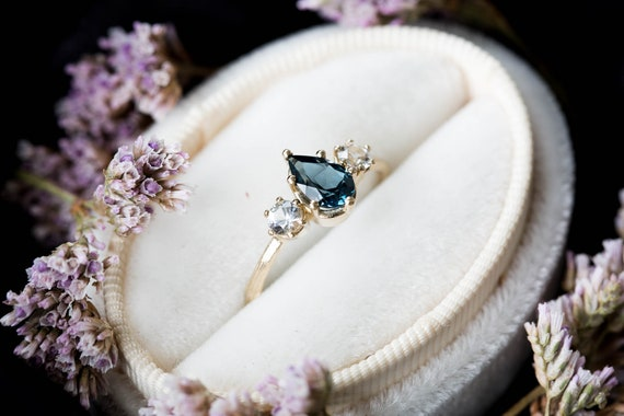 Pear London blue topaz three stone twig engagement ring, 14k gold pear engagement ring, alternative engagement ring, twig engagement ring,