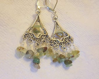 Chrysoprase Silver Leverback Chandelier Earrings, Chrysoprase Jewelry, Tibetan Style Silver, Gifts for Her