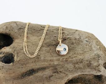 14k Gold Aquamarine Pendant Necklace. Solid Gold Aquamarine Necklace. March Birthstone Necklace. Gold Disc Aquamarine. Round Gold Pendant