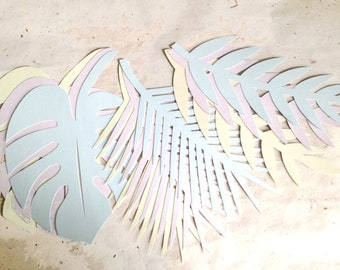 9 Large Tropical Leaves shimmer pastel or green