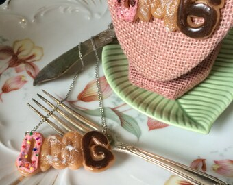 OMG! Miniature Frosted Donuts Word Necklace