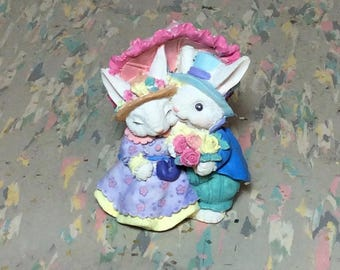 Vintage Resin Easter Bunny Couple with Parasol Michael's 1990's