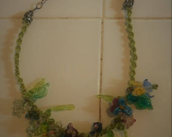 Spring garden lampwork flower necklace