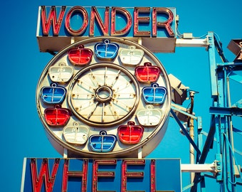 Ferris Wheel Art, Fine Art Photography, Coney Island, Brooklyn, NYC, Neon Sign Photo, Wall Art, Carnival Decor, Kids Room Art, Nursery Decor