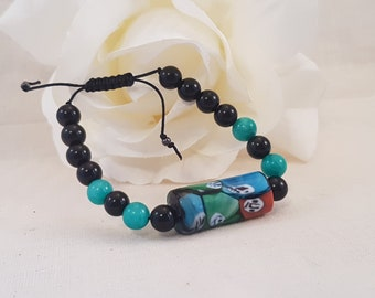 Macrame Bracelet/ Bohemian Jewelry/ Ghost Face Focal Bead/ Mala Beads.