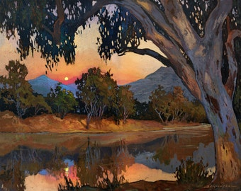 Sunset, Moonrise - Giclee Fine Art PRINT of Original Painting matted 16x20 by Jan Schmuckal