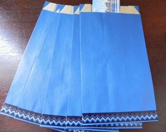 10 sachets Blueberry kraft 12 x 20 cm decorated with a masking tape-zig zag blue