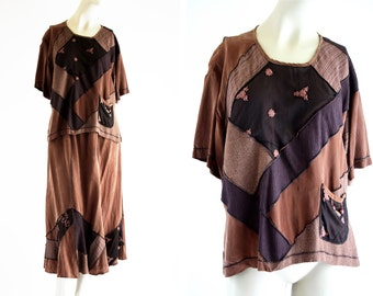 Spencer Alexis Patchwork Vintage Brown Silk 2 Piece Short Sleeve Loose Fit Top and Elastic Waist Midi Skirt