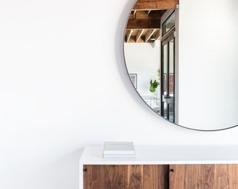Large Round Steel Chambers Mirror