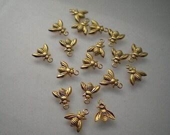 18 teeny tiny brass bee charms