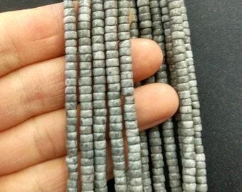 Natural Gray Stone Heishi beads 2x4mm- approx 170pcs/Strand