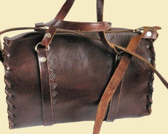 Brown Leather Bag Hand and Shoulder Bag Doctors Bag Tooled Leather Mid century 1950s
