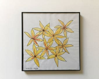 76/100: Yellow Flowers - original framed watercolor illustration