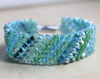 Embellished Netted Bracelet - turquoise/blues/greens