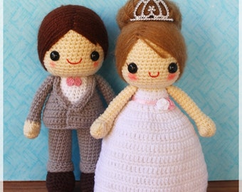 PDF Crochet Pattern - Bride and Groom