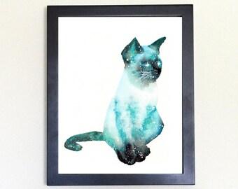 Cat Spirit Animal Art Print Watercolor 8x10 Galaxy Totem Guide