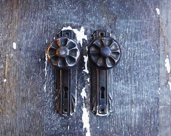 Vintage Door Knobs and Escutcheons - Pair Of Metal Knobs and Back Plates - Old House Parts - Decorative Door Knobs