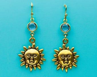 Sun Earrings, Aquamarine Earrings, Gold Sun God  Earrings, Aqua Crystal Earrings, Dangle Earrings, Gifts for Her, 496