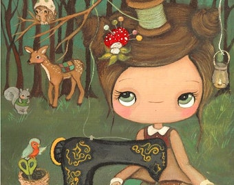 Seamstress Print Animal Critter Forest Girl Hedgehog, Bird, Squirrel, Deer, Owl---The Forest Seamstress
