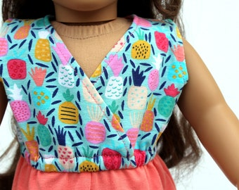 Fits like American Girl Doll Clothes - Pineapple Sleeveless Wrap Romper in Aqua and Coral | 18 Inch Doll Clothes