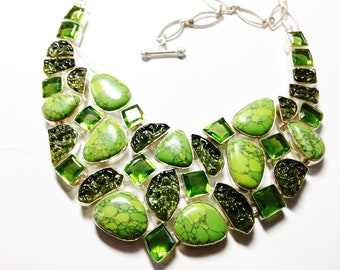 Turquoise and Created Moldavite bib large neat silver Necklace