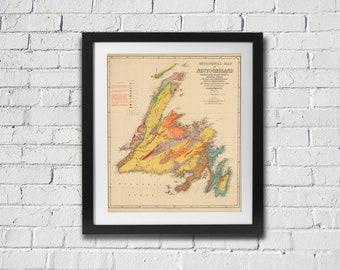 1925 Geological Map of Newfoundland Antique Reprint