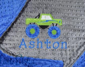 Personalized Baby Blanket, Minky Blanket, Personalized Name Blanket, Name and Monster Truck Applique, Choose your colors, Choose your size.