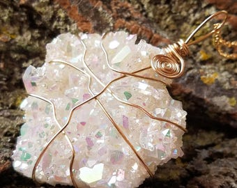 Angel Aura Quartz, Opal Aura Quartz pendant,Aura quartz necklace, angel aura necklace, aura quartz, boho jewelry