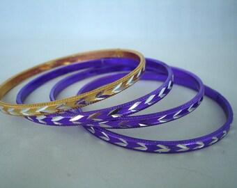 Set of 4 Bangles - Vintage - Silver, Puple, Yellow, Golden - Retro - 90's - Metal Bracelets - Fashion Jewelry