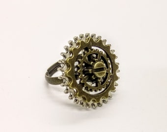 Steampunk Ring with Cogs Gears Bronze Silver