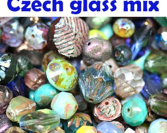 Premium Czech glass beads SOUP Grab bag Picasso czech beads mix Fire polished faceted beads 20gr DIY Beading supplies Jewelry making - 0472