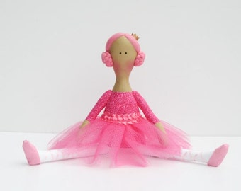 Ballerina doll, princess doll, pink fabric doll, cloth doll cute stuffed doll softie rag doll ballet dancer birthday gift for girls