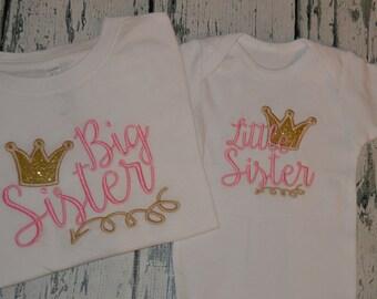 Sibling Shirt Set Big Sister Little Sister Glitter Crown and Arrow Sibling set