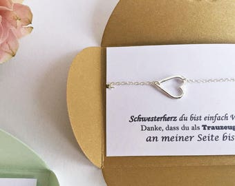 6 x sister gift: maid of honor gift - heart