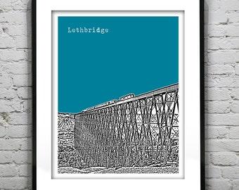 20% OFF Memorial Day Sale - Lethbridge Alberta Canada Poster Print City Skyline Art Print AB Version 2