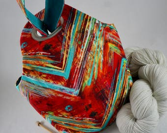 SMALL Red Chevron Project Bag, Knitting Project Bag, Reversible, Pocket, Crochet Project Bag, Saxi Bags, Saxi Bag, Yarn Bag, Knot Bag, Teal